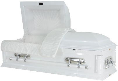 Picture of Angelic White Cloud Wood Casket Casket