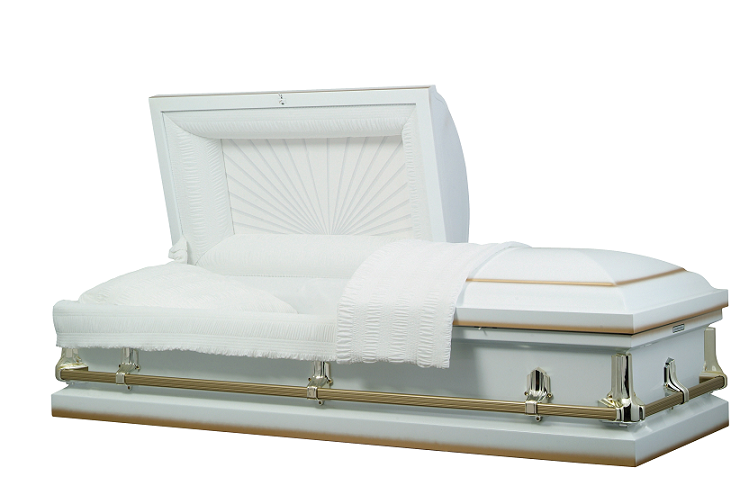Picture of American White w/Gold Shade Steel Casket Casket