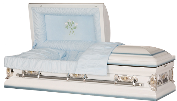 Casket: Blue & White Spray Rose Steel Casket