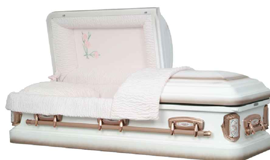 Picture of Carnation White/Coral Steel Casket Casket