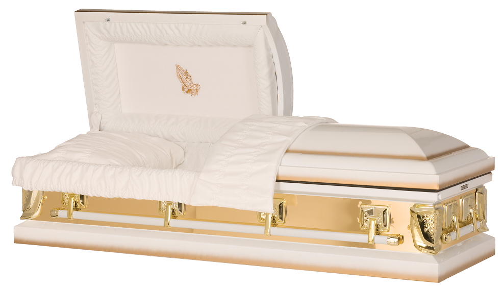 Picture of Golden Sunlight with Praying Hands Casket Casket