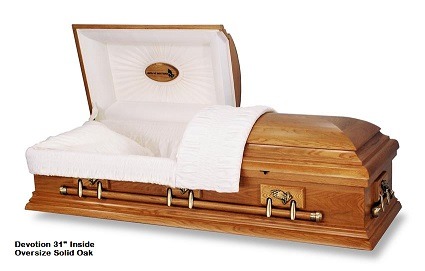 Casket: Oversize - Praying Hands 31 inch Solid Oak