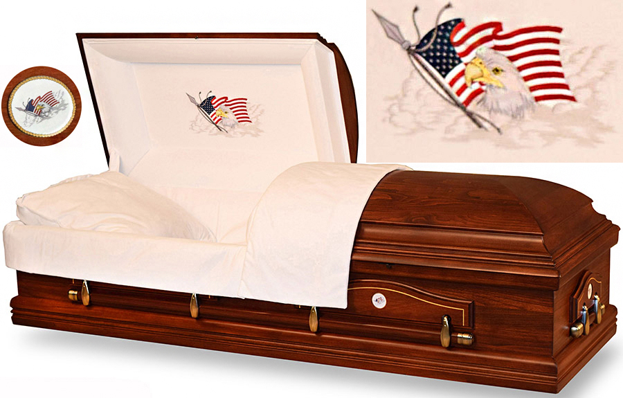 Picture of Eagles Flight Poplar Wood MILITARY CASKET Casket