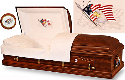Casket: Eagles Flight Poplar Wood MILITARY CASKET