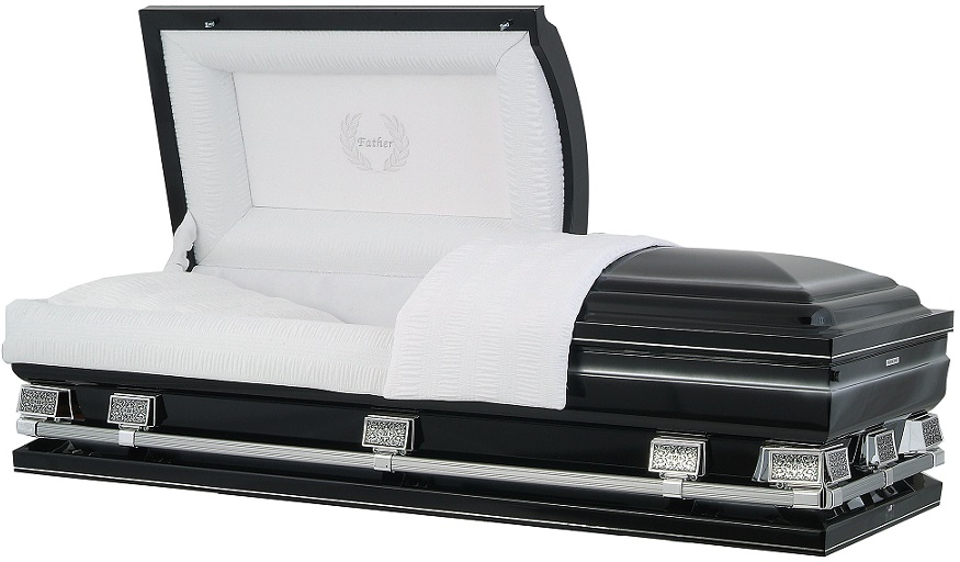 Picture of Midnight Black with Silver OverSize Casket