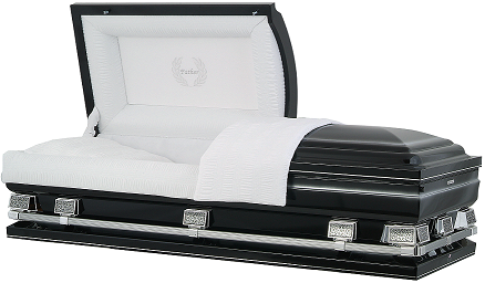 Casket: Midnight Black with Silver OverSize