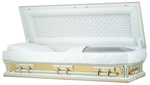 Picture of Tuxedo White w/Gold Mirror Full Couch Casket Casket