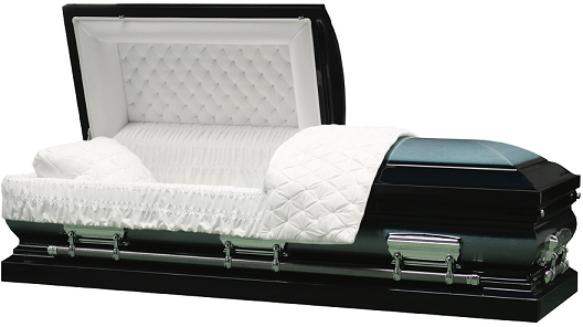 Casket: LINCOLN BLUE Brushed Metal Casket