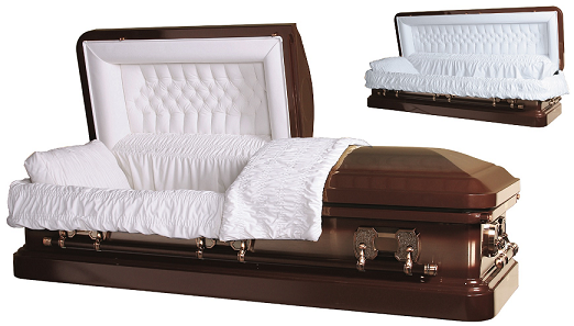 Casket: TIGER EYE BRONZE with Copper Brush Steel Casket