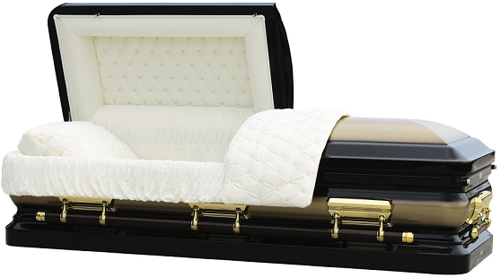 Casket: ROYALE GOLD & BLACK with Silver Brush Steel Casket