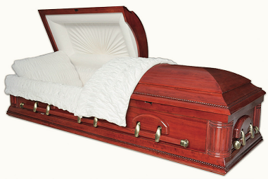 Casket: HAMILTON POPLAR with Red Walnut Finish