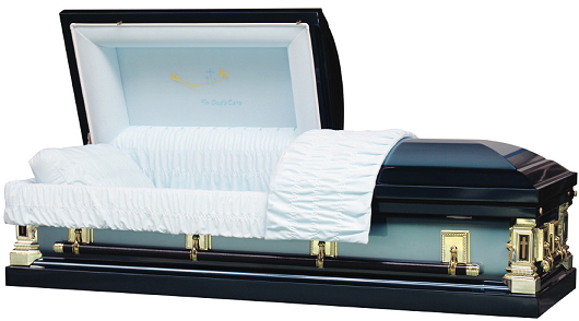 Casket: In Gods Loving Care Blue Steel Casket