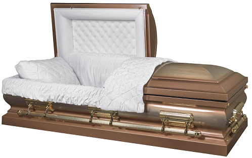 Casket: LINCOLN GOLD brushed metal casket