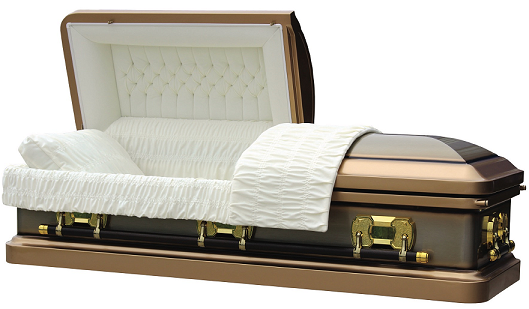 Casket: TIGER EYE GOLD with Gold Brush Casket