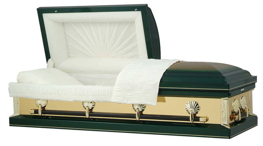 Picture of Hunter Green with Gold Mirrors Casket Casket